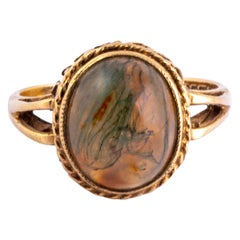 Art Deco Moss Agate and 9 Carat Gold Ring