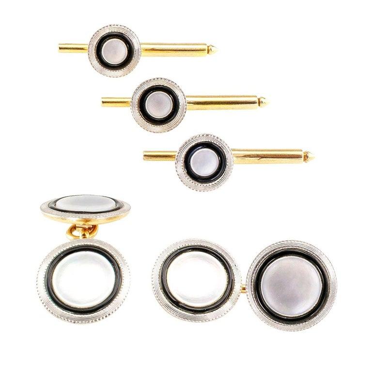 Art Deco Mother of Pearl Black Enamel Gold Platinum Gentleman Dress Set For Sale