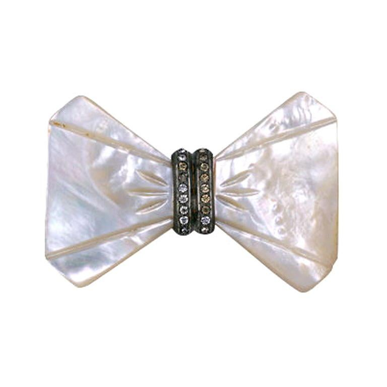 Art Deco Mother Of Pearl Bow Tie Brooch For Sale At 1stdibs