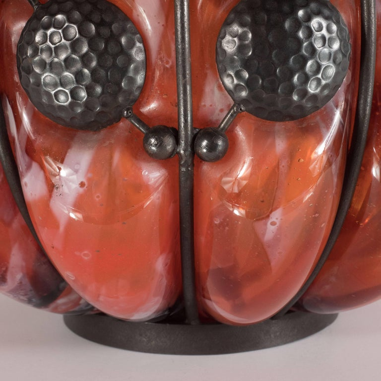Art Glass Art Deco Mottled Vermillion Glass Vase W/ Wrought Iron by Majorelle & Daum