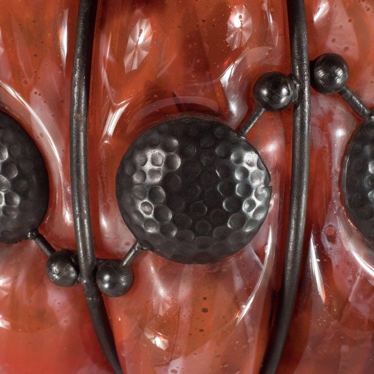 Art Deco Mottled Vermillion Glass Vase W/ Wrought Iron by Majorelle & Daum 1