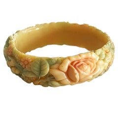 Art Deco Moulded Celluloid floral bangle bracelet