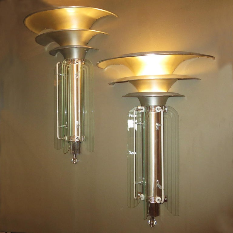 American Art Deco Movie Theatre Wall Sconces in a Large-Scale For Sale