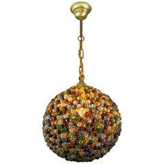Art Deco Multicolored Murano Beaded Glass Globe Shaped Pendant Light