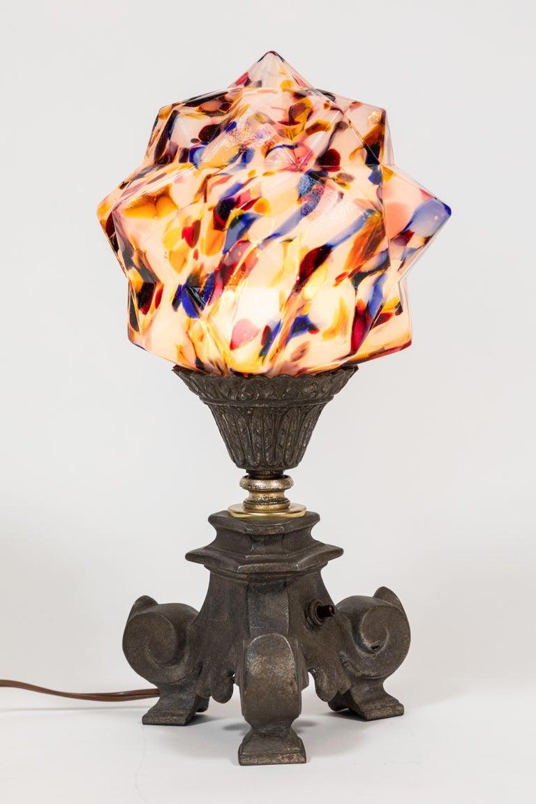 Art Deco Multicolored 'Star' Globe Table Lamp For Sale 1