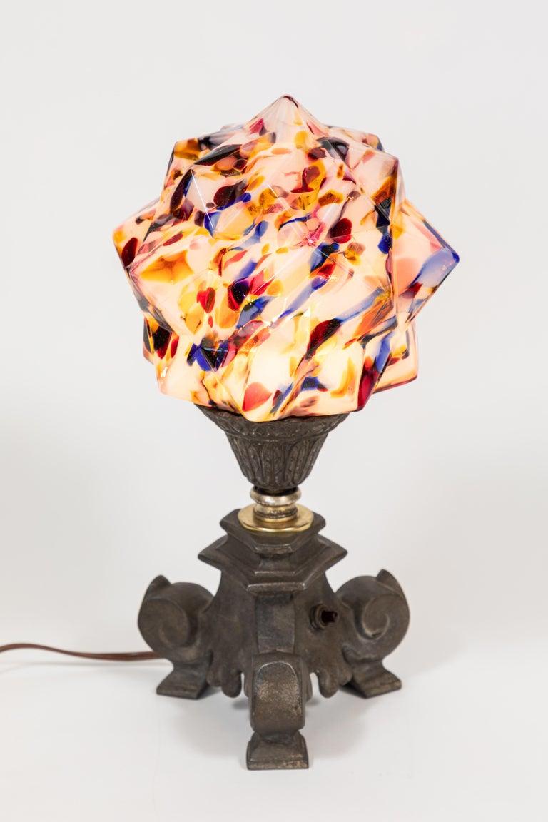 Art Deco Multicolored 'Star' Globe Table Lamp For Sale 2