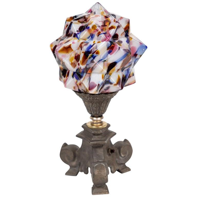 Art Deco Multicolored 'Star' Globe Table Lamp For Sale