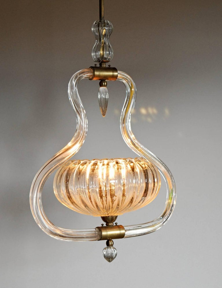 Art Deco Murano Cannister Rigadin Chandelier by Ercole Barovier, 1930s, Brass In Good Condition In Tavarnelle val di Pesa, Florence