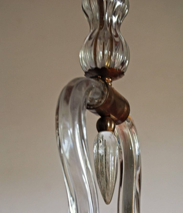 Art Deco Murano Cannister Rigadin Chandelier by Ercole Barovier, 1930s, Brass 4