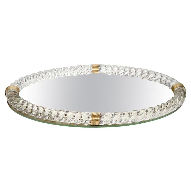 Art Deco Murano Glass Rope and Mirrored Vanity Tray by Venini, Italy circa 1940s For Sale