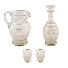 Art Deco Murano Glass Set, Venini Attributable, Decorations Carlo Scarpa Style