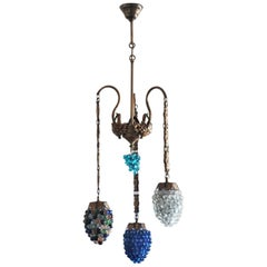 Art Deco Murano Glass Three-Light Grape Chandelier, Italy, Mid-20th Century