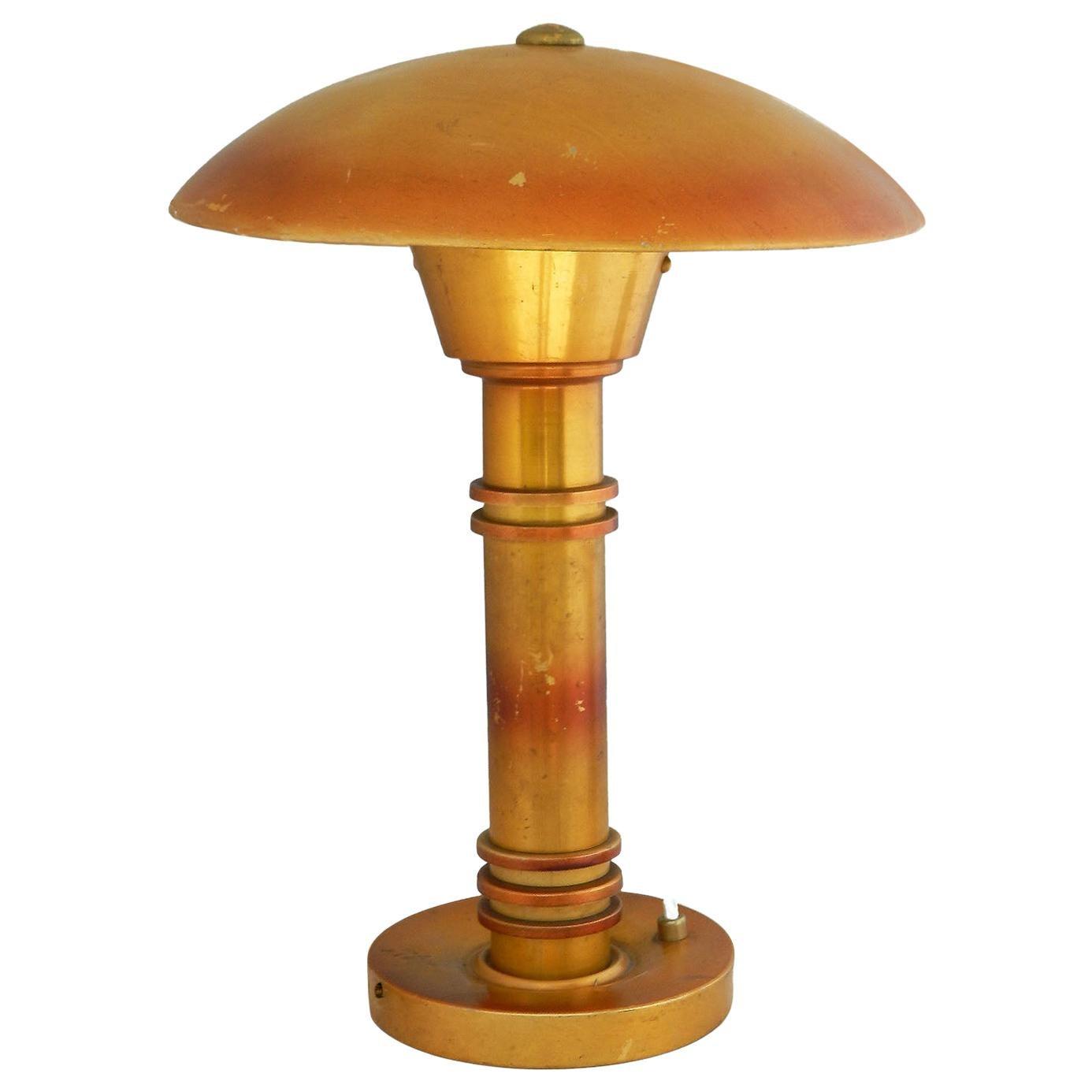 Art Deco Mushroom Table Lamp UFO French Aluminum Distressed