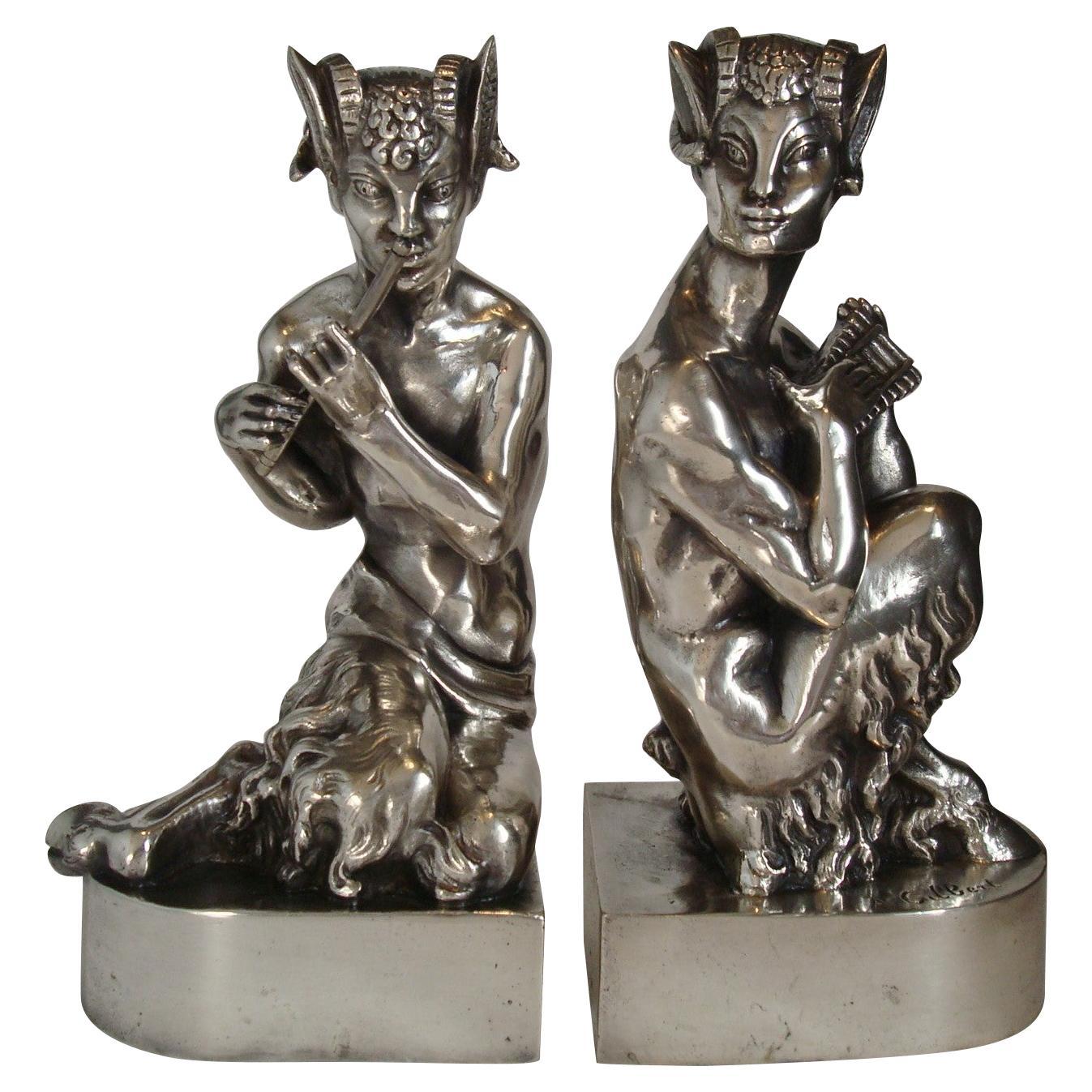 Art Deco Mythological Faun Bookends, Signed Gilbert, circa 1925