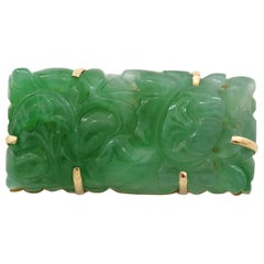 Art Deco Natural and Untreated Jade Brooch in Apple Green Singularly Spectacular