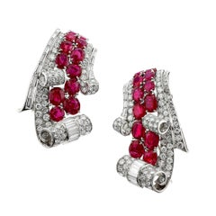 Art Deco Natural Burma Ruby and Diamond Platinum Double Pin, French