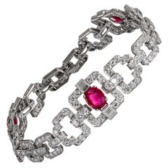 Art Deco Natural Burmese Ruby and Diamond Bracelet