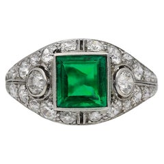 Art Deco Natural Colombian Emerald & Diamond Bombé Ring, American, circa 1930