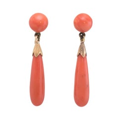 Art Deco Natural Coral Pendant Drop Earrings
