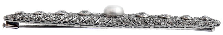 Women's or Men's Art Deco Natural Freshwater Pearl Diamond Platinum Brooch For Sale