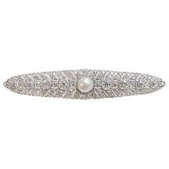 Art Deco Natural Freshwater Pearl Diamond Platinum Brooch