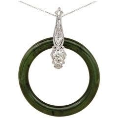 Art Deco Natural Green Jade 1.0 Carat Diamond Rare Hoop Pendant Necklace
