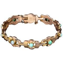Art Deco Natural Opal Bracelet 9 Carat Rose Gold, circa 1920