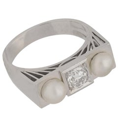 Art Deco Natural Pearl and Diamond Ring, French, circa 1925