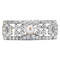 Art Deco Natural Pearl & Diamond Brooch GIA Certified