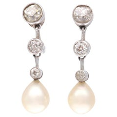 Art Deco Natural Pearl Diamond Platinum Drop Earrings