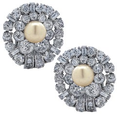 Art Deco Natural Pearl Old European Cut Diamond Earrings