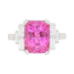 Art Deco Natural Pink Sapphire and Diamond Ring, circa 1930s