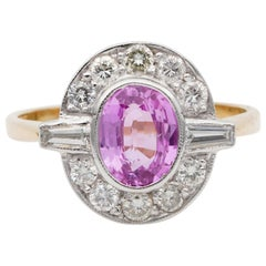 Art Deco Natural Pink Sapphire Ceylon Origin Diamond Ring