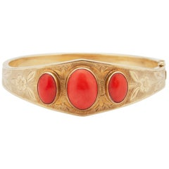 14 Karat Gold Red Coral Etched Bangle Bracelet