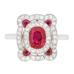 Art Deco Natural Ruby and Diamond Ring, circa 1920s