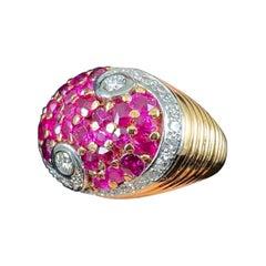 Art Deco Natural Ruby Diamond Bombe Cocktail Ring Rose Gold Platinum 1930s 1940s