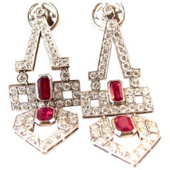 Art Deco Natural Ruby Diamond Platinum Dangle Drop Earrings