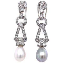 Art Deco Natural Saltwater Pearl and Diamond Earrings, ca. 1920s