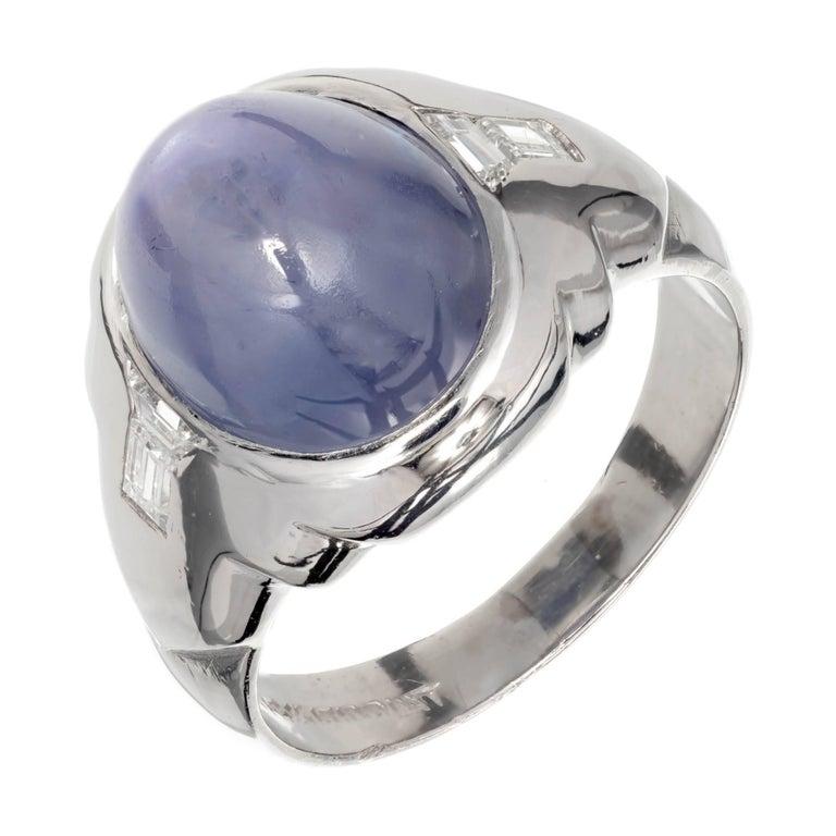 GIA Certified 6.50 Carat Natural Star Sapphire Diamond Men's Platinum Ring