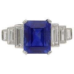 Art Deco Natural Unenhance Ceylon Sapphire and Diamond Ring, English, circa 1925