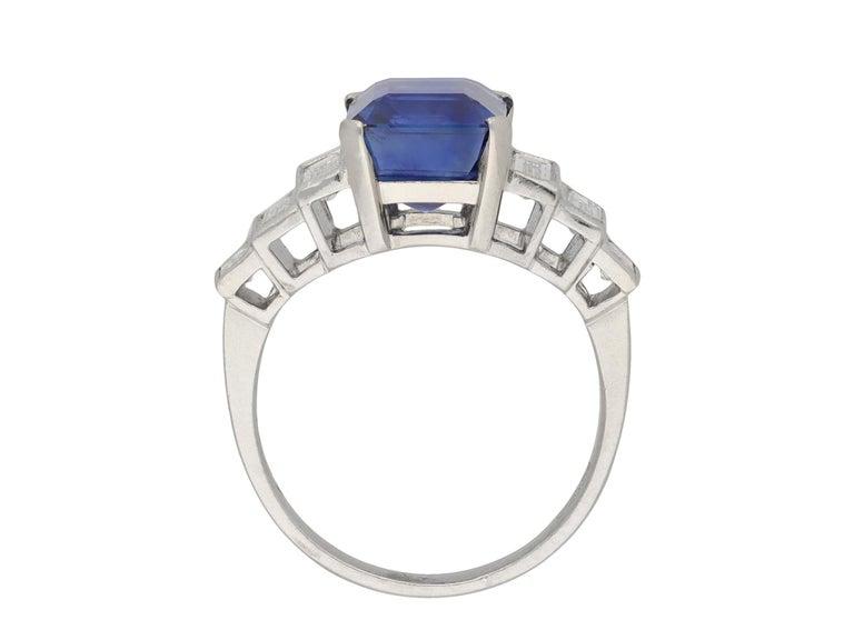 Baguette Cut Art Deco Natural Unenhance Ceylon Sapphire and Diamond Ring, English, circa 1925 For Sale