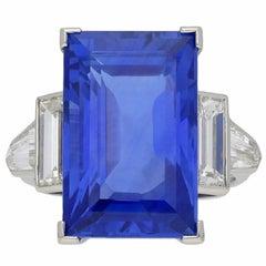 Art Deco Natural Unenhanced Ceylon Sapphire and Diamond Ring, circa 1935
