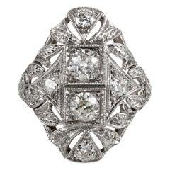 Art Deco Navette-Shaped Diamond Ring