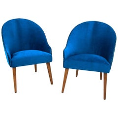 Art Deco Navy Blue Club Cocktail Chairs