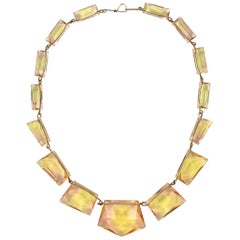 Art Deco Necklace Shell Pink and Light Yellow Uranium Glass on Gold Tone Wire