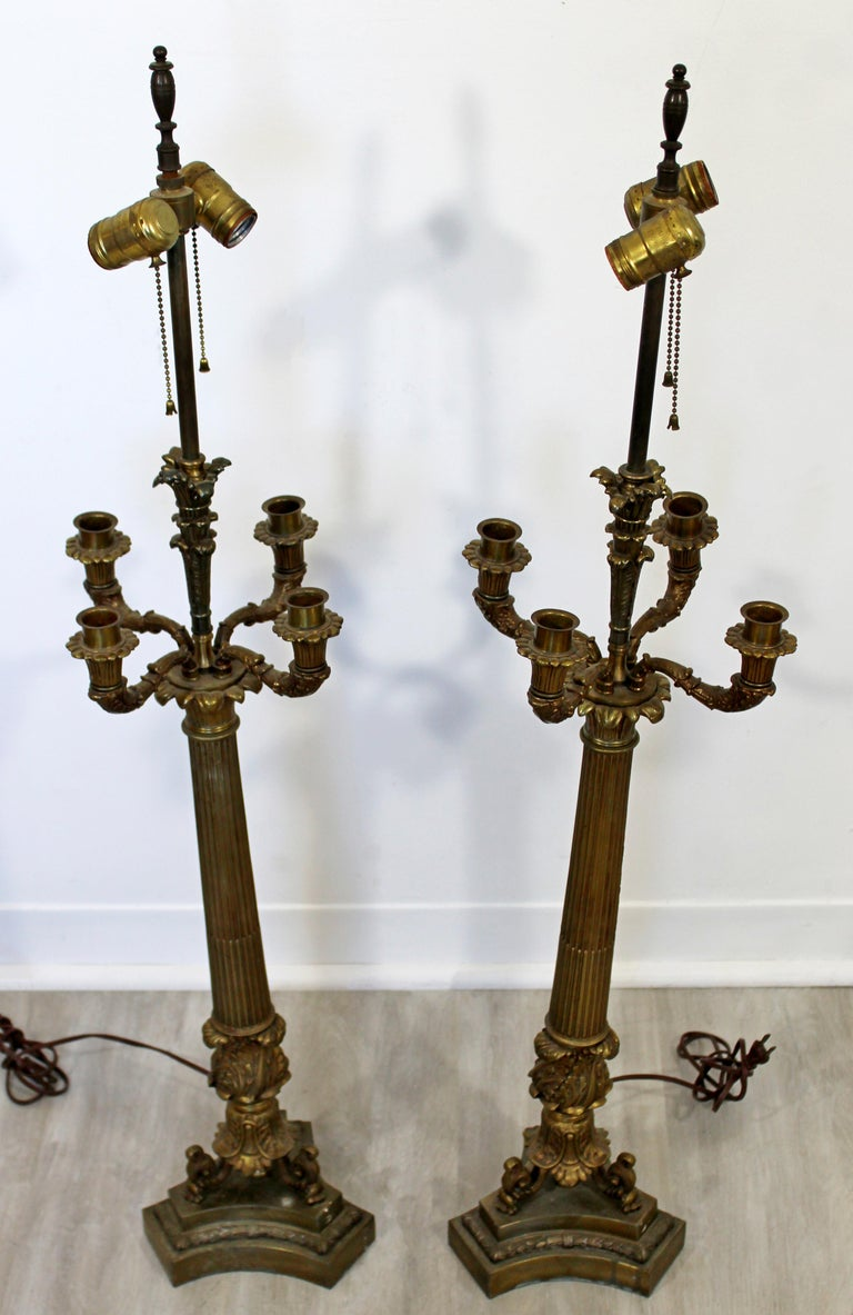 Art Deco Neoclassical Pair of William Kessler Bronze Table Lamps, 1930s In Good Condition For Sale In Keego Harbor, MI