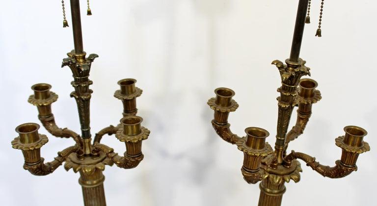 Art Deco Neoclassical Pair of William Kessler Bronze Table Lamps, 1930s For Sale 2