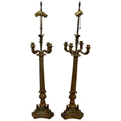 Art Deco Neoclassical Pair of William Kessler Bronze Table Lamps, 1930s