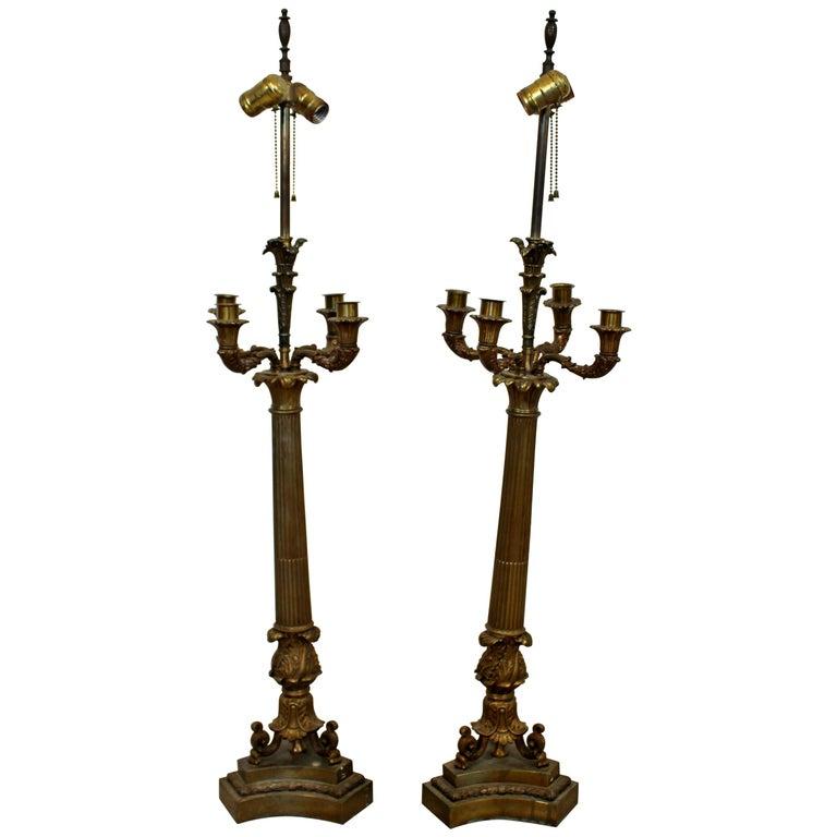 Art Deco Neoclassical Pair of William Kessler Bronze Table Lamps, 1930s For Sale