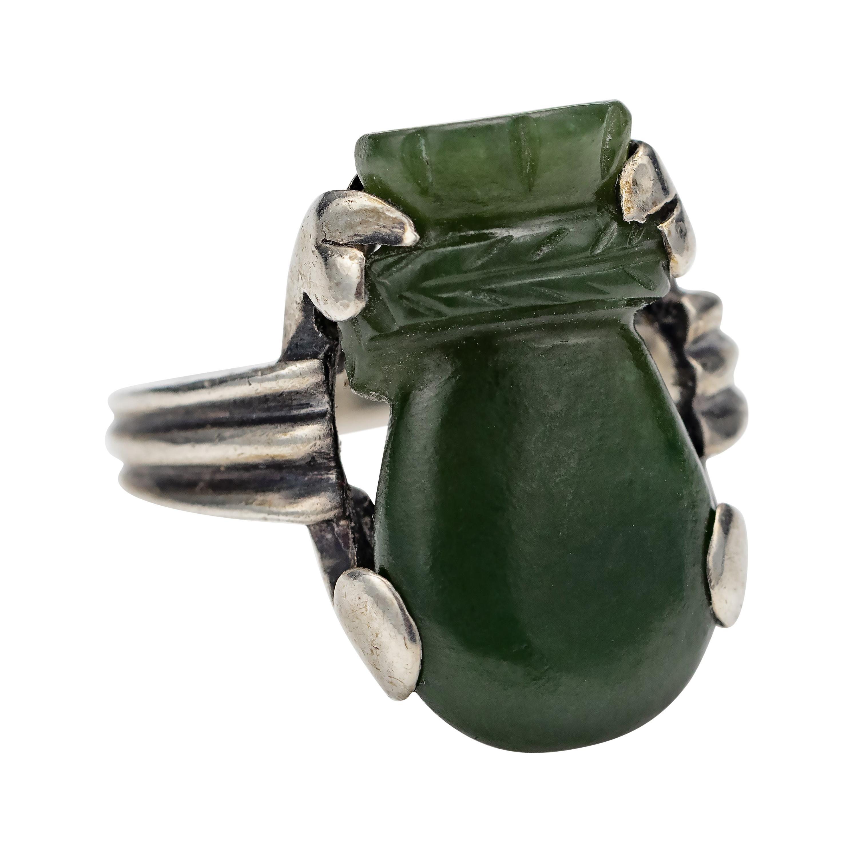 Art Deco Nephrite Ring Certified